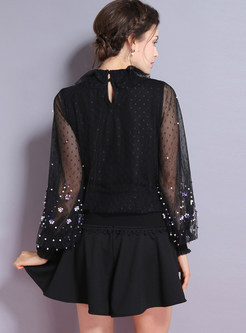 Ruffled Neck Beaded Mesh Splicing Knitted Blouse