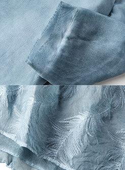 Stylish Distressed Blue Semi-sheer Top & Asymmetric Hem Silk Skirt