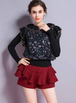 Crew Neck Flouncing Multicolor Sequined Sweater