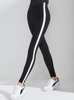 Black-white Blocked Striped Splicing Slim Elastic Leggings
