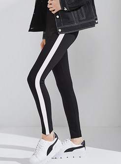 Black-white Blocked Striped Splicing Slim Elastic Leggings