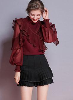 Trendy Beaded Standing Collar Lantern Sleeve Sweater