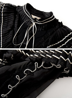 Fashion Standing Collar Lantern Sleeve Tied Sweater