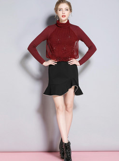 Solid Color Turtle Neck Beaded Mesh Stitching Sweater