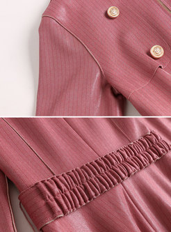 Chic PU O-neck Half Sleeve Tie Waist Skater Dress