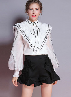Fashion Mesh Splicing Standing Collar Tied Ruffle Sweater