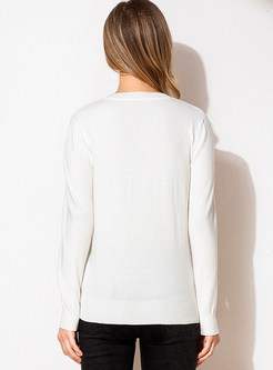 V-neck Pullover Slim Butterfly Embroidered Sweater