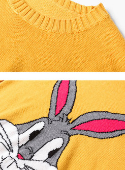 Embroidered Cartoon Rabbit Slim Sweater