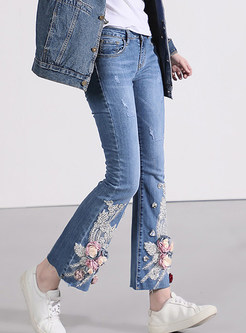 Chic Mid Waist Lace Flower Beaded Flare Pants