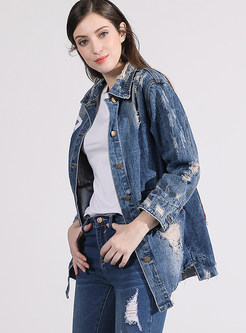 Turn Down Collar Holes Single-breasted Denim Coat