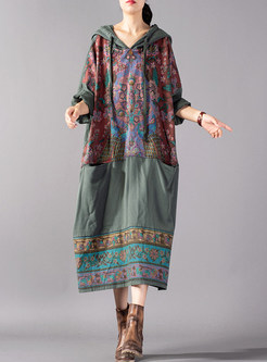 Color-blocked Stitching Hooded Tied Print Dress
