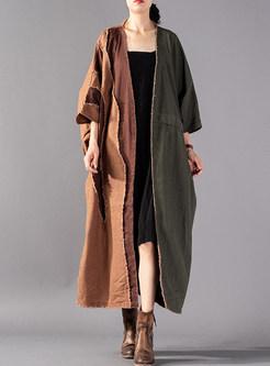 Fashion Color-blocked Stitching Bat Sleeve Trench Coat