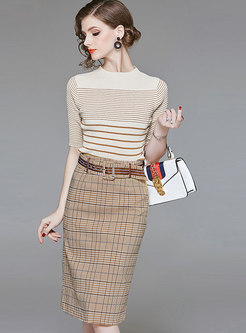Stylish Apricot Three Quarters Sleeve Sweater & Plaid Sheath Midi Skirt