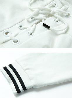Stylish Striped Splicing Hooded Tied Loose Sweatshirt