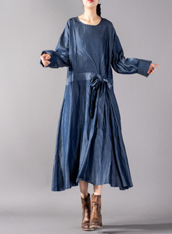 Casual Tie-waist Loose Striped Denim Dress