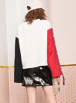 Stylish Color-blocked Print Flare Sleeve Loose Sweatshirt
