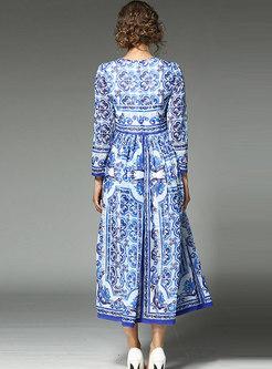 Trendy All Over Print Big Hem Zip-up Maxi Dress