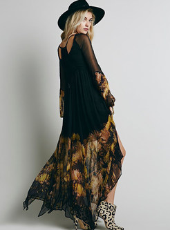 Bohemian Chiffon Irregular Hem Print Long Sleeve Dress