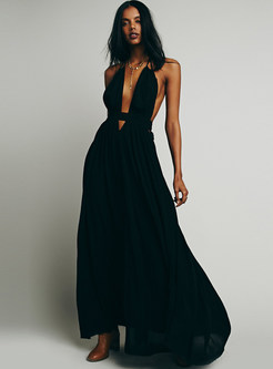 Sexy Deep V-neck Backless Waist A Line Dress