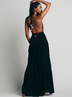Sexy Deep V-neck Backless Waist A Line Dress