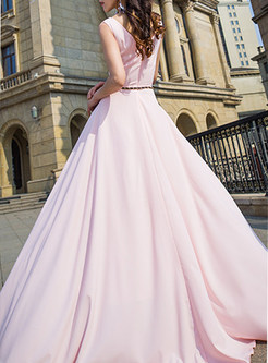 Pink O-neck Sleeveless Slim Maxi Evening Dress
