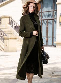 Army Green Lapel Wool Straight Long Overcoat