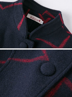 Navy Blue Stand Collar Cashmere Long Overcoat