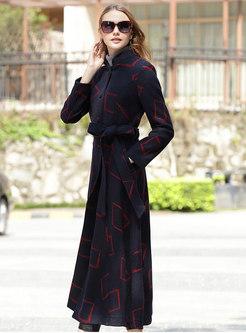 Vintage Navy Stand Collar Cashmere Big Hem Coat With Belt