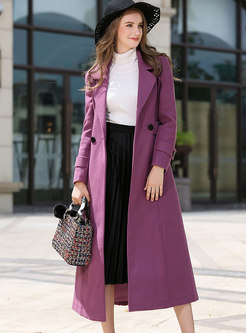 Fashion Winter Elegant Purple Cashmere Coat With Big Hem