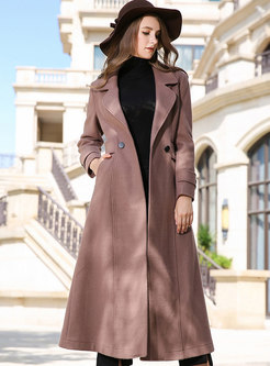 Winter Elegant Monochrome Cashmere Coat With Big Hem