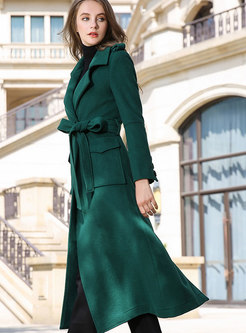 Trendy Winter Dark Green Belted Hairy Wool Skinny Coat