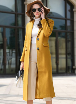 Yellow Lapel Long Slit Overcoat