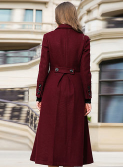 Wine Red Notched Hairy Knee-length Peacoat