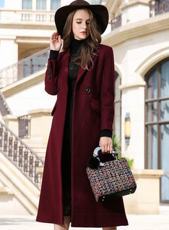 Elegant Red Notched Hairy Knee-length Coat