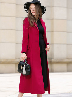 Winter Red Pockets Placket Slim Long Coat