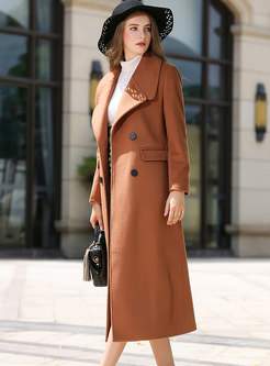 Solid Color Double-breasted Slit Slim Coat