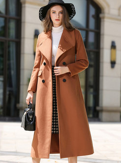 Camel Double-breasted Slit Wool Peacoat