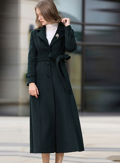 Trendy Dark Green Winter Gathered Waist Belted Cashmere Coat