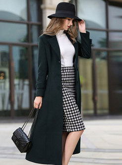 Dark Green Waisted Belted Cashmere Overcoat
