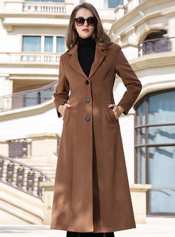 Pure Color Single-breasted Slim Long Peacoat