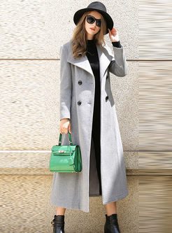 Pure Color Double-breasted Pocket Slim Long Coat