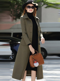 Brief Lapel Single-breasted Belted Slim Trench Coat