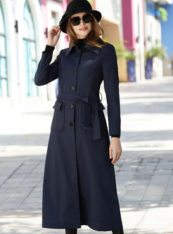 Pure Color Lapel Single-breasted Belted Slim Trench Coat