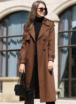 Solid Color Double-breasted Gathered Waist Trench Coat