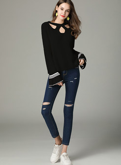 Hollow Out Irregular Neck Flare Sleeve Sweater