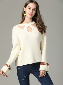 Pure Color Flare Long Sleeve Pullover Sweater