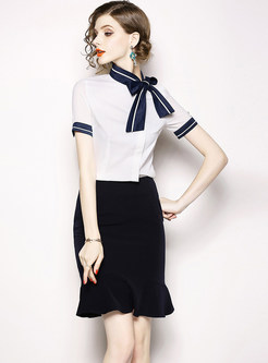 Tied Color-blocked Short Sleeve Top & Slim Mermaid Skirt