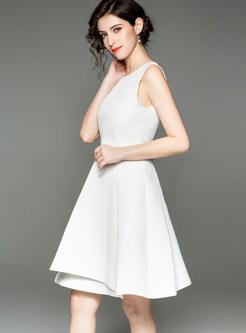 Solid Color Sleeveless Asymmetric Skater Dress