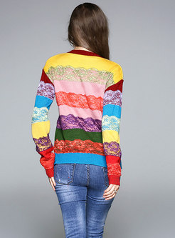 Casual Cat Embroidery Rainbow Striped Knitted Sweater