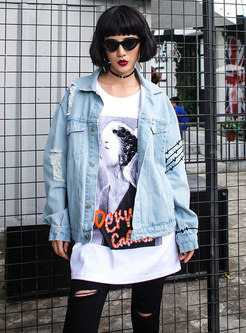 Trendy Blue Denim Print Frayed Single-breasted Short Coat